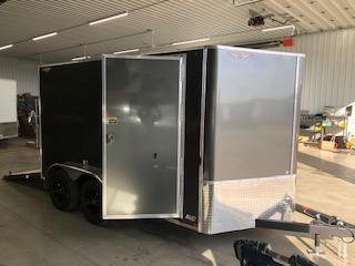 2020 H and H Trailers 7'x12' Cargo Charcoal Flat Top V-Nose Tandem Axle