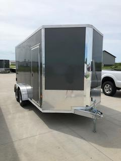 2019 CargoPro Trailers 7X14 Charcoal Flat Top V-nose 3.5k Tandem Axle Enclosed Cargo Trailer
