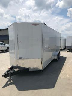 "2020 H and H Trailers 101""X20' White Enclosed V-Nose 5.2k Tandem Axle Car Hauler"