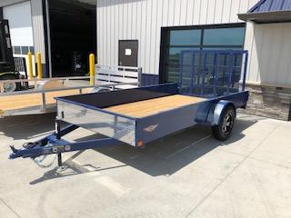 "2020 H and H Trailers 82""x12' Blue Solid Side Utility Trailer With 3.5k Axle"