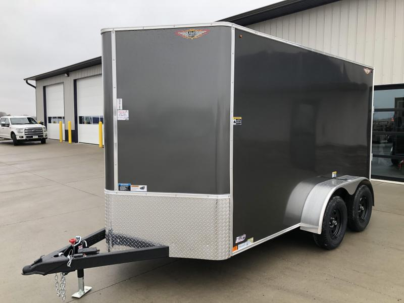2020 H and H Trailers 6'x12' Charcoal Cargo 3.5k Axles Flat Top V-Nose Trailer