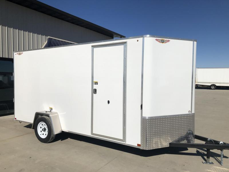 2020 H and H Trailers 6'x14' White Cargo 3.5k Axle Enclosed Flat Top V-Nose Trailer