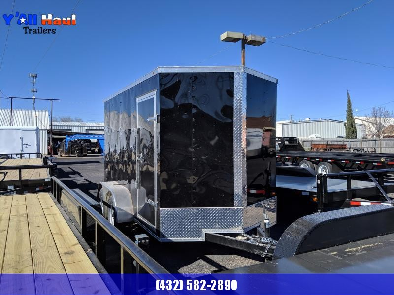 Salvation 6 x 12  Black Enclosed Tandem Trailer
