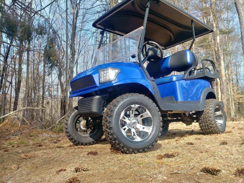 Metallic Blue Custom Precedent Alpha Lifted COOL Golf Car 2016 Battery