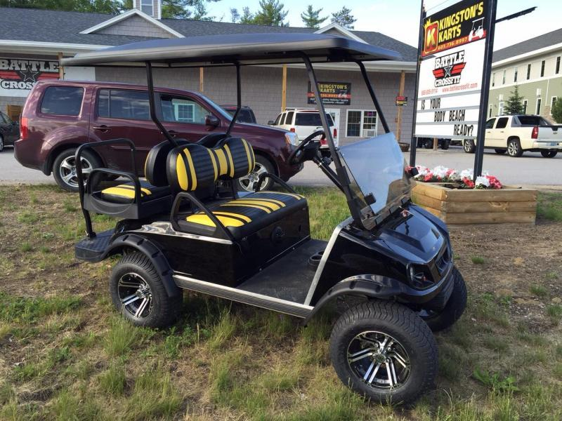 Club Car DS Spartan Custom Black/Yellow lifted Electric Golf Cart 4 passenger