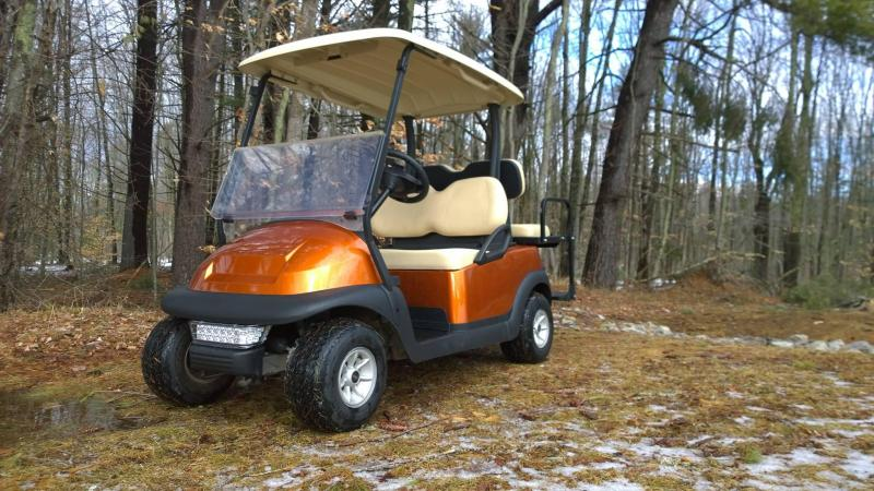 Atomic Orange Metallic Club Car Elec 4 Pass Golf Cart 2016 battery