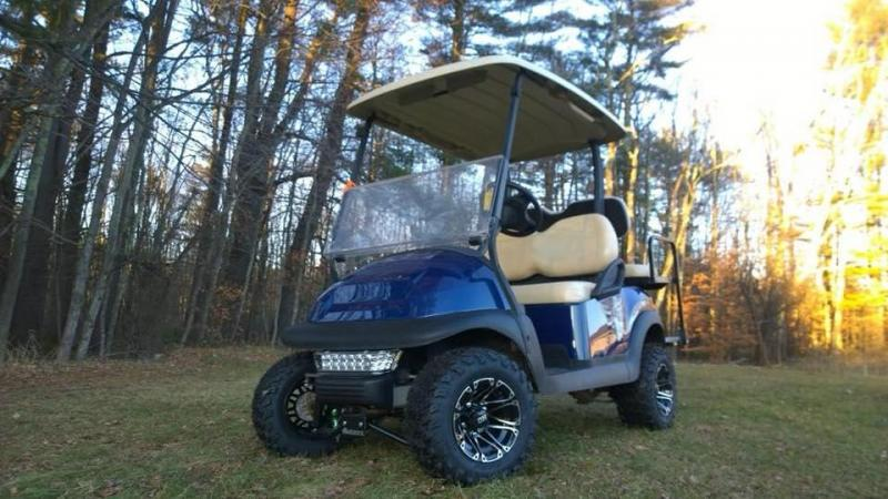 Save $1000 CUSTOM Precedent Metallic Sapphire Blue Lifted 4 pass electric golf cart