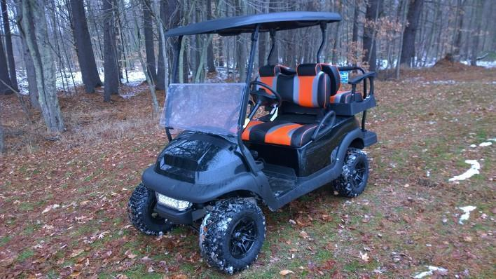 CUSTOM Black-Orange Precedent 4 pass Elec Golf Cart