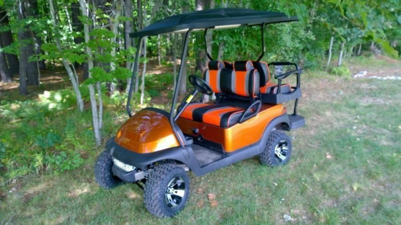 CUSTOM Atomic Orange Club Car Precedent 4 pass elec golf cart