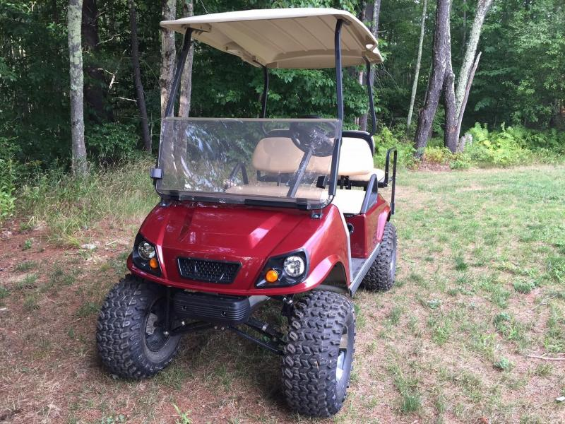 Club Car DS Custom Spartan Electric 4 pass Lifted Golf Cart Metallic Burgundy