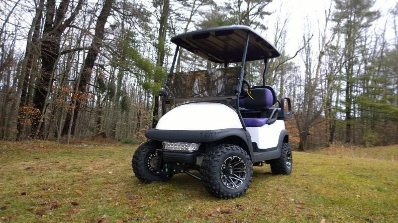 Double Take Precedent Metallic Pearl White Lifted 4 pass elec golf cart