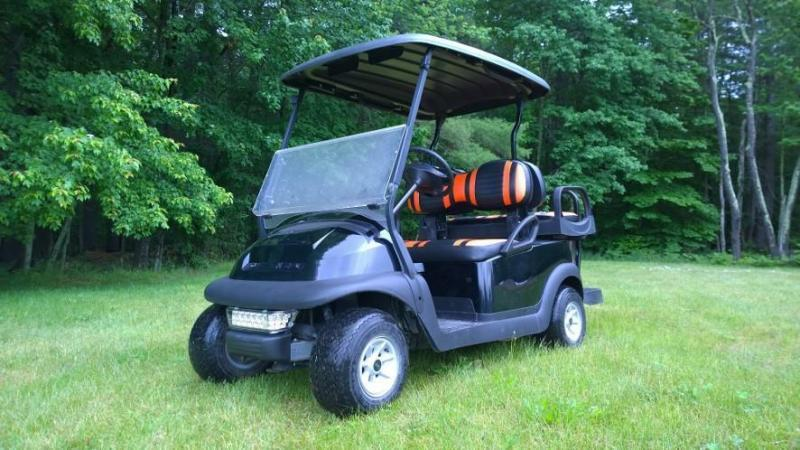 Custom Club Car Precedent Black-Orange Harley colors 4 pass  GOLF CART