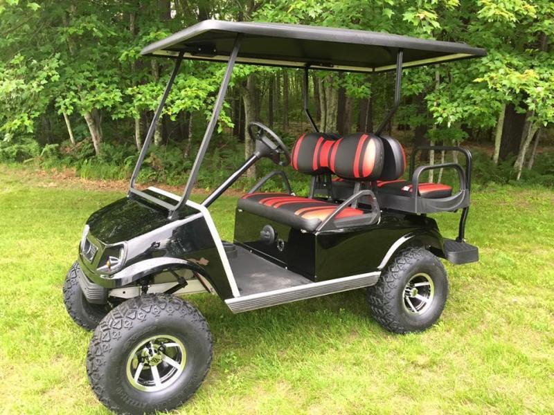 Club Car DS Spartan Custom Black/RED lifted GAS Golf Cart 4 passenger