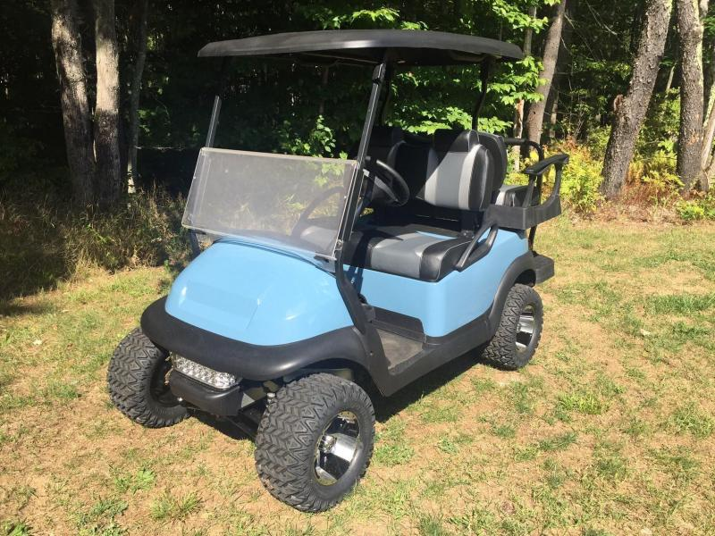 Custom Atlantic Blue Club Car Precedent 4 pass elec golf cart