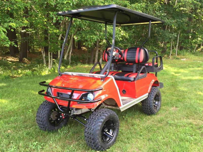 Club Car DS Custom Lifted Red Spartan Electric 4 passenger golf cart