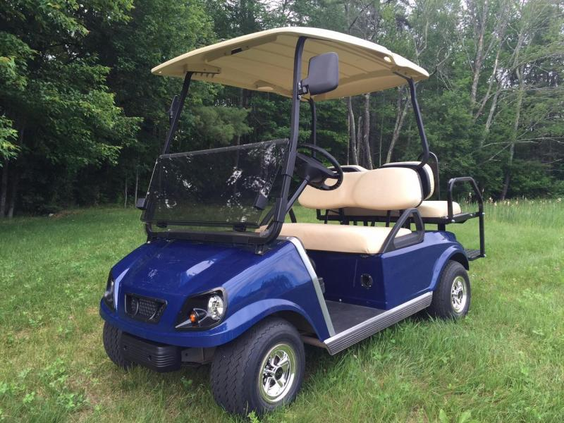 Club Car DS Custom Navy Blue Spartan Electric 4 passenger golf cart