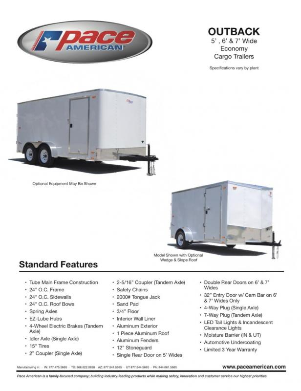 2020 Pace American 5 X 10 OUTBACK Enclosed Cargo Trailer