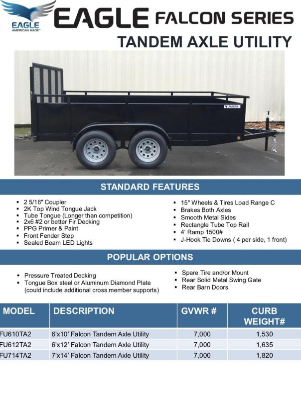 2019 Eagle Trailer Falcon Tandem Axle Utility Utility Trailer