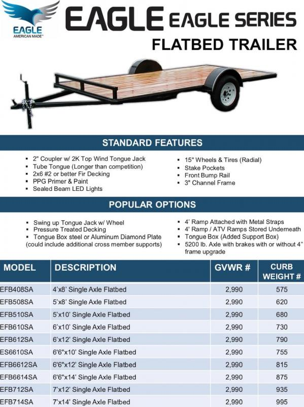 2020 Eagle 5' X 10' Flatbed Utility Trailer