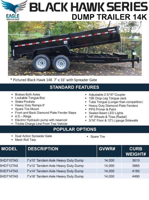 2020 Eagle Trailer Black Hawk Dump Trailer