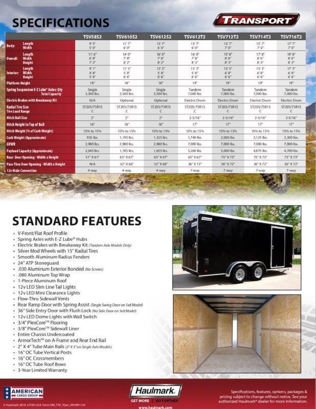 Haulmark TRANSPORT TSV612S2 Enclosed Cargo Trailer