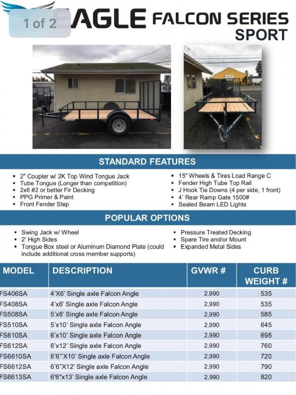 2019 Eagle Trailer Falcon FS610SA Utility Trailer