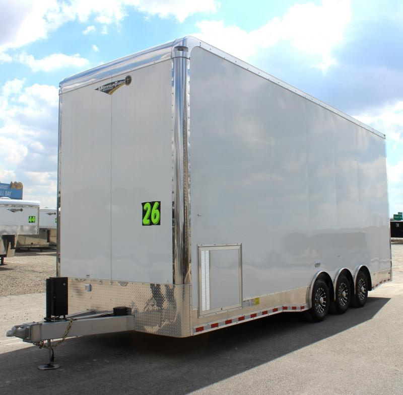 <b>OVERSTOCK SALE NOW $53699</b> 2019 26' All Alum Stacker Enclosed Race Car Trailer 3/7k Tri Axle 14' Full Floor Lift