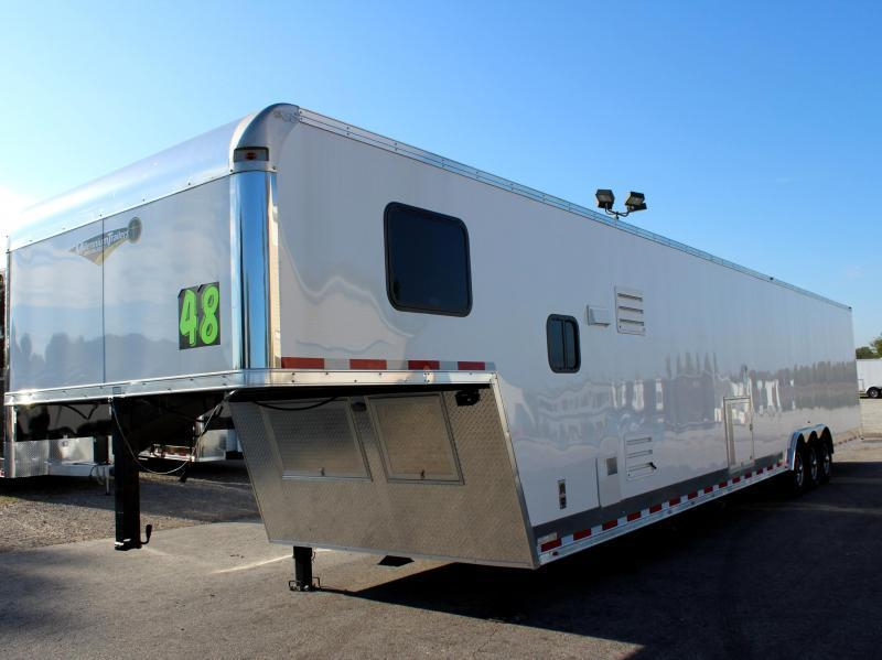 2020 48' Millennium Silver Enclosed Gooseneck Trailer w/12' Sofa Living Quarters w/King Size Bath  Dragster Pkg.
