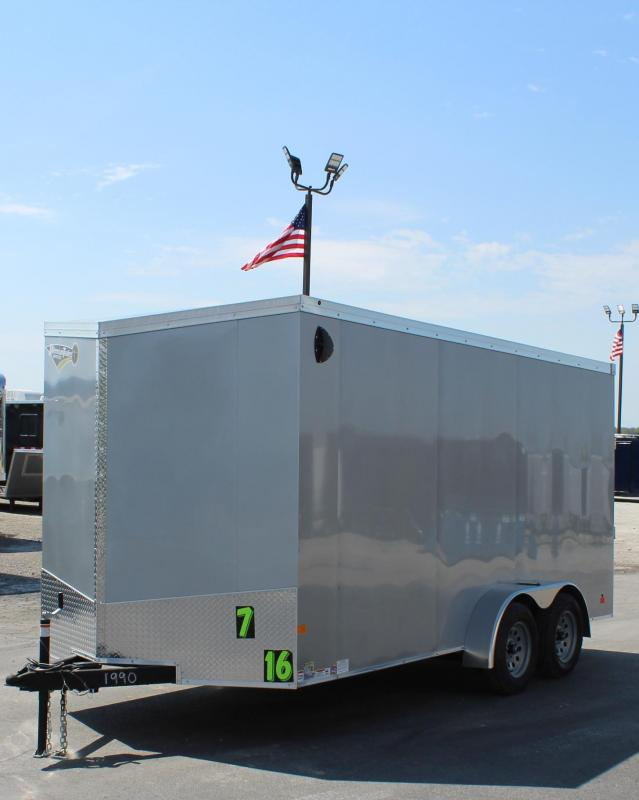 <b>NOW AVAILABLE</b>  2020 7'x16' V-Nose Millennium Transport Cargo w/Ramp Door/ Slant Nose Option / 6