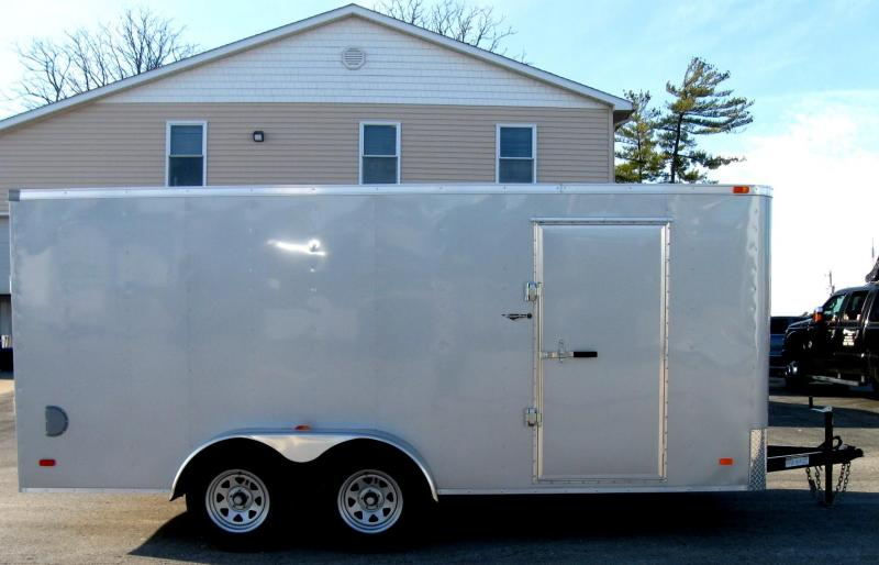 2019 7'x16' Hero Budget Enclosed Cargo Trailer Silver Exterior