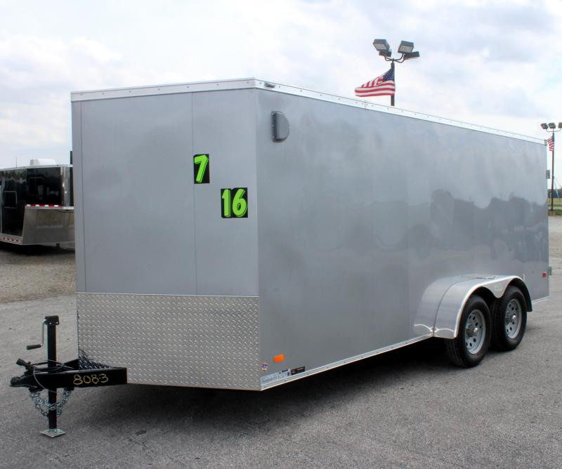 <b>Now Ready! Screwless Ext. </b> 2019 7'x16' Scout Enclosed Cargo w/Double Doors & Free Upgrades