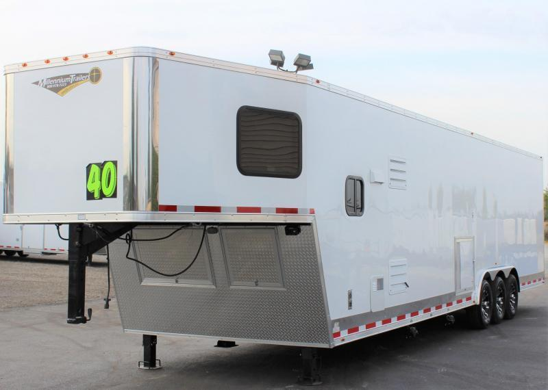 Due Out Soon! 2020 40' Millennium Silver Enclosed Gooseneck Trailer w/12' Sofa Living Quarters/King Size Bath