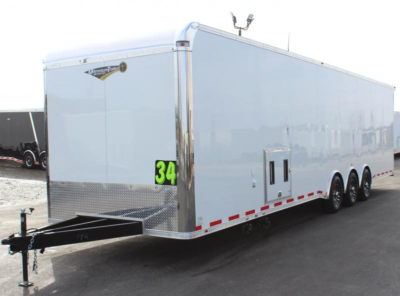 <b>NOW READY</b> 2020 34' Millennium Platinum Enclosed Race Car Trailer w/Full Bathroom