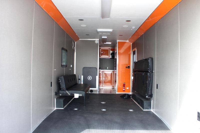 <b>SUPER SHARP MOTORCYCLE LQ</b> 28' Millennium Auto Master Toy Hauler Black w/Orange Cabinets & Tons of Options Added!