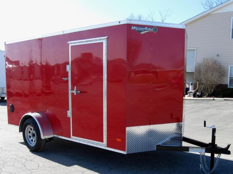 6'x12' Hero Economy Enclosed Cargo Trailer Ramp Door V-Nose Front
