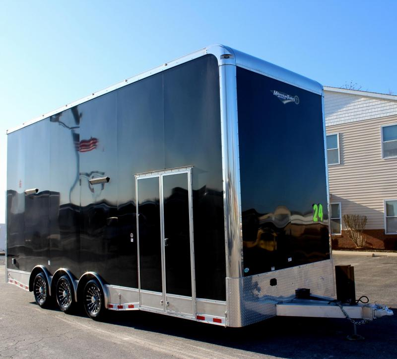 2020 24' Alum Frame Millennium Stacker Enclosed Car Trailer w/14' Titan Lift w/Solid Center/Black Cabs