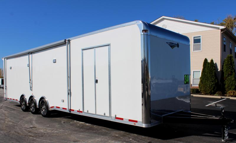 <b>Pre-Owned NEVER USED</b> 2020 34' Millennium Platinum Enclosed Race Car Trailer w/Full Bathroom