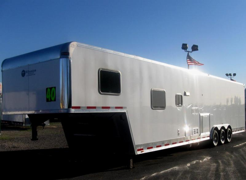 <b>BLACK FRIDAY ONLY $36995 Save $4919 Off MSRP</b>  USED 2015 40' Millennium Silver 12'XE Living Quarter Trailer SUPER CLEAN 2-A/C's