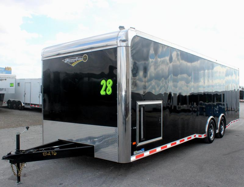 <b>NOW READY</b> 2019 28' Millennium Thunderbolt Enclosed Race Car Trailer Black Cabinets/Alum Wheels/Spread 6K Axles