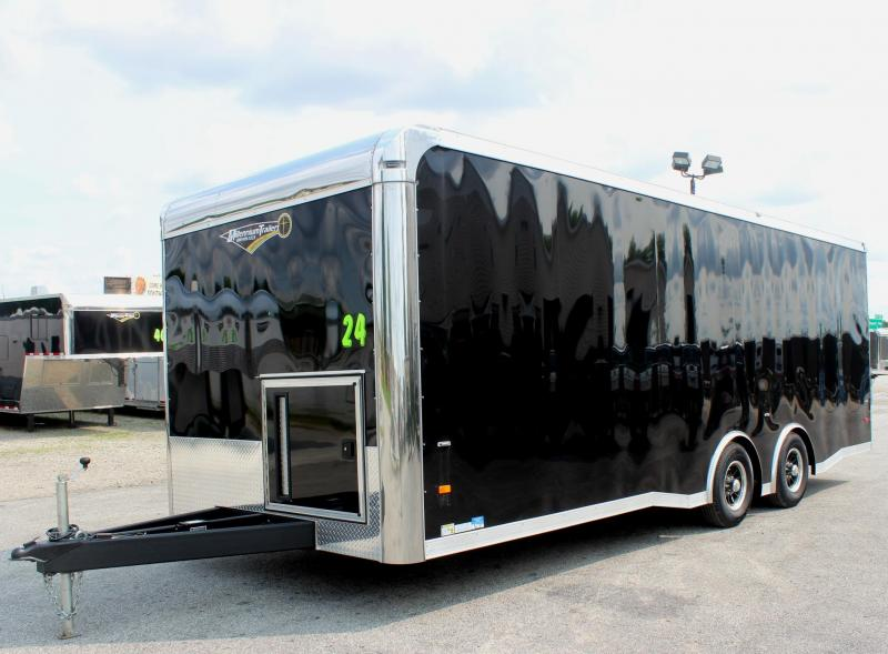 <b>Now Ready</b> 2019 24' Millennium Thunderbolt Enclosed Race Car Trailer Black Cabinets/Alum Wheels/Spread Axles