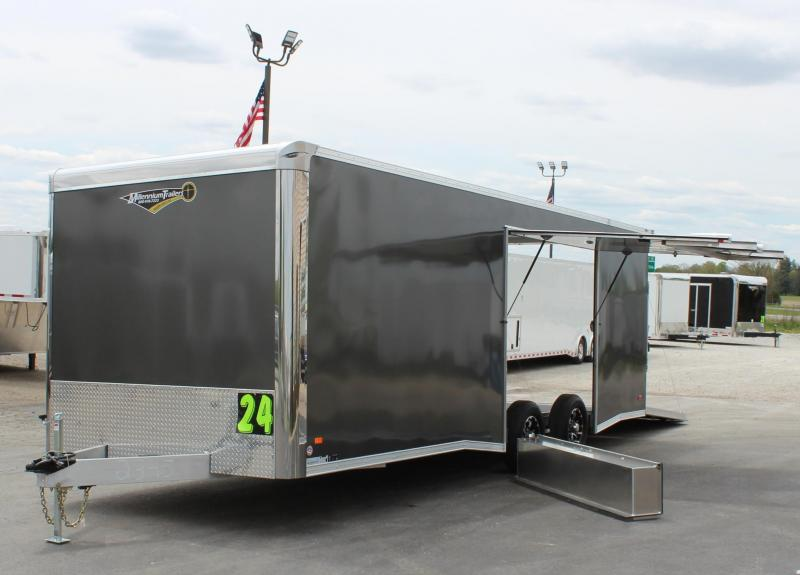 <b>SALE PENDING NEED EASY EXIT ACCESS?</b> 24' Charcoal Aluminum Millennium Extreme Lite with Removable Fender/Spread Axles/Rear