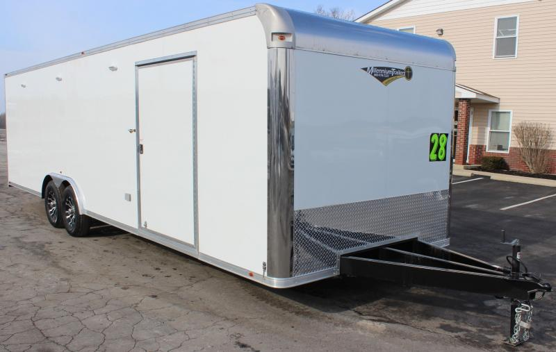 <b> NOW AVAILABLE</b> 2020 28' Millennium Silver Car / Racing Trailer