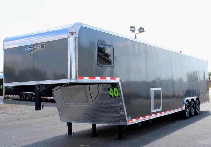 2020 40' Millennium Silver Gooseneck Enclosed Race Car Trailer w/Partial Living Quarters
