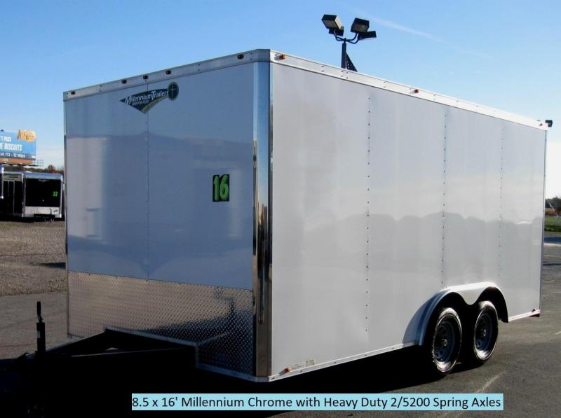 <b>BLOW-OUT PRICE ONLY $5999 Save $1800 Off MSRP</b>  2017 8.5x16 Millennium Chrome Enclosed Trailer