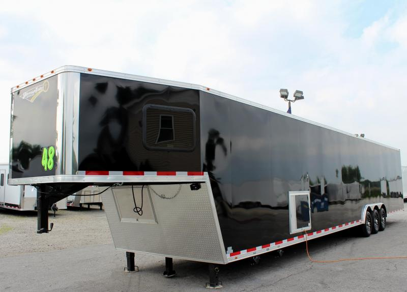 <b>Now Available</b>  Large Bathroom Option 2019 48 Millennium Platinum GN  Tapered Nose Race Trailer LOADED