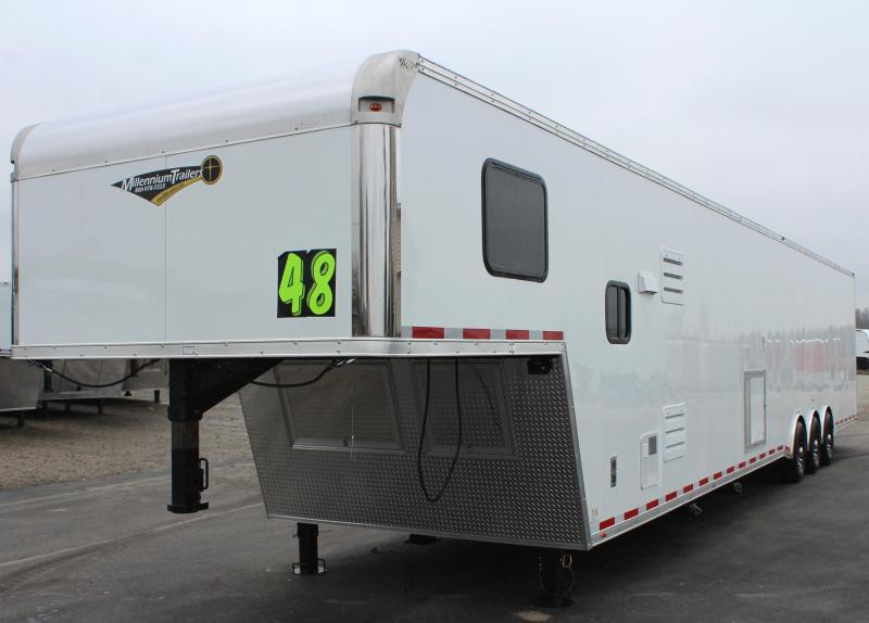 <b>Dragster Package/Just Arrived</b> 2020 48' Millennium Silver Enclosed Gooseneck Trailer w/12' Sofa Living Quarters w/King Size Bath