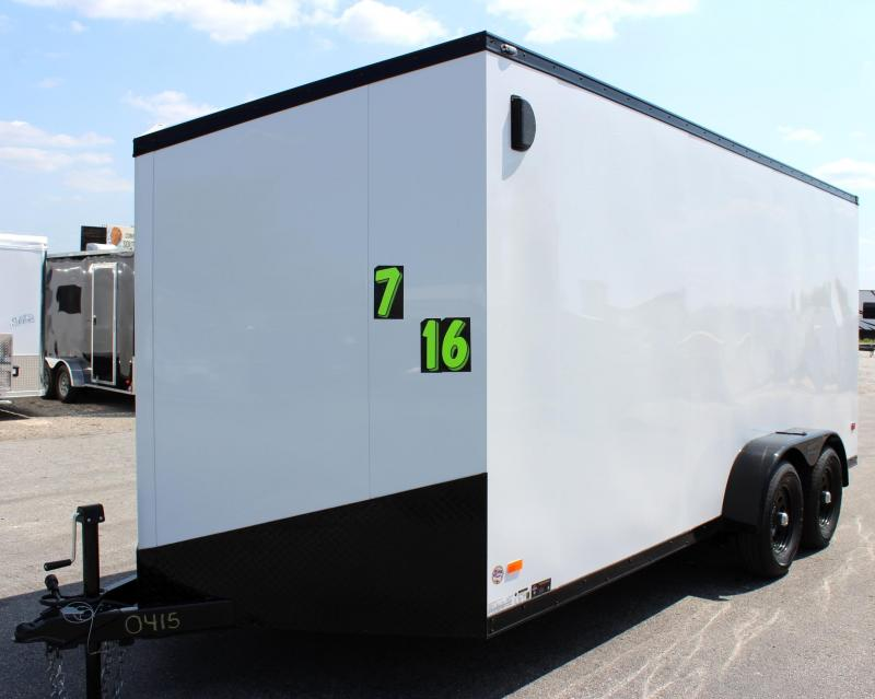 <b>NEW BLACK OUT TRIM PKG</B> 2020 7'x16' Scout Enclosed Cargo Trailer with Ramp Door FREE OPTIONS