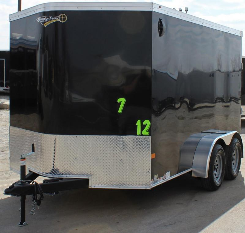 <b>Available Now</b> 2020 Tandem 7'x12' V-Nose Millennium Transport Cargo Trailer