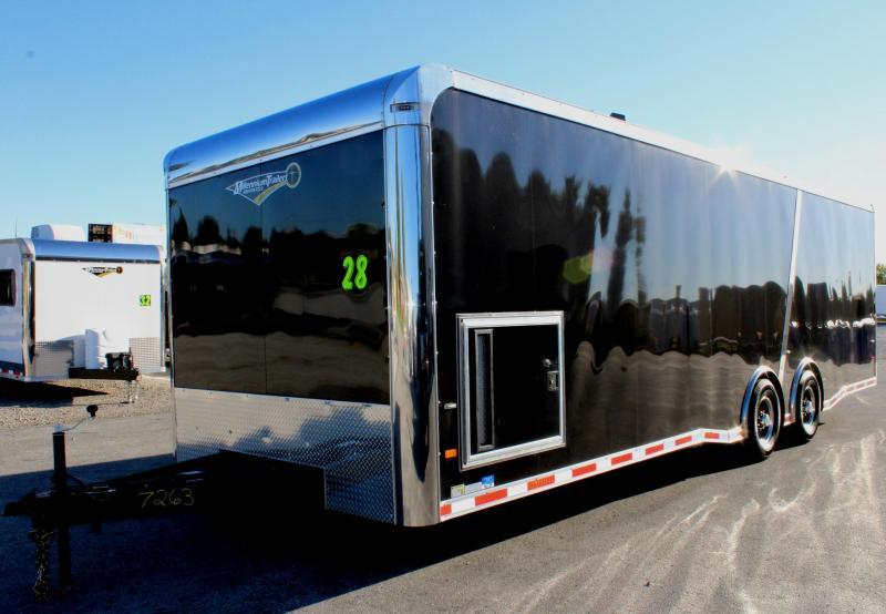 <b>Weekly Special</b> 2019 28' Millennium Thunderbolt Enclosed Race Trailer Black Cabinets/ Black Cove /Alum Wheels/Spread 6K Axles