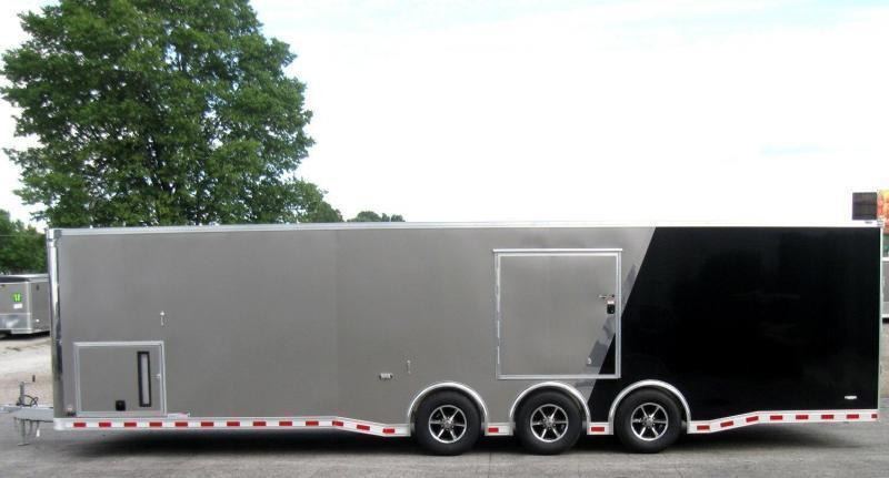 <b>Now Available</b> 2019 ALL ALUM FRAME  32' Millennium Extreme Race Car Enclosed Trailer Black Cabinets/Escape Door